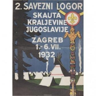 Plakat 2. Savezni logor skauta Kraljevine Jugoslavije, Zagreb 1.- 6. VII. 1932.